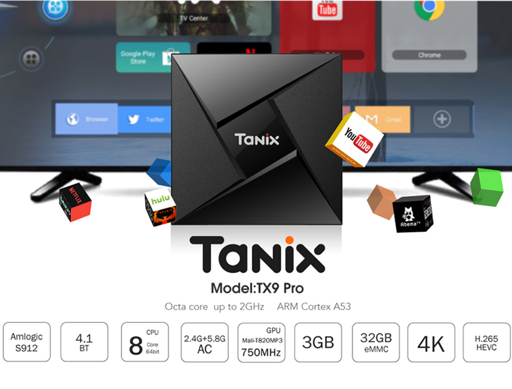 Tanix TX9 Pro Smart TV Box Android 7.1 Amlogic S912 Octa-Core Bluetooth 4.1 Box 3G 32G 1000M Set Top Box 4K HDMI Media Player гарнитура marshall mid bluetooth