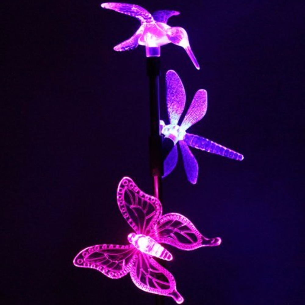 Butterfly lawn ornaments - 1 Set Outdoor Led Solar Lawn 3 Animals Shape Lights 1 Stainless Steel Pipe Garden