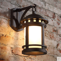 European simple wall lamp frosted glass waterproof outdoor lamp aluminum alloy E27 retro lighting lamp