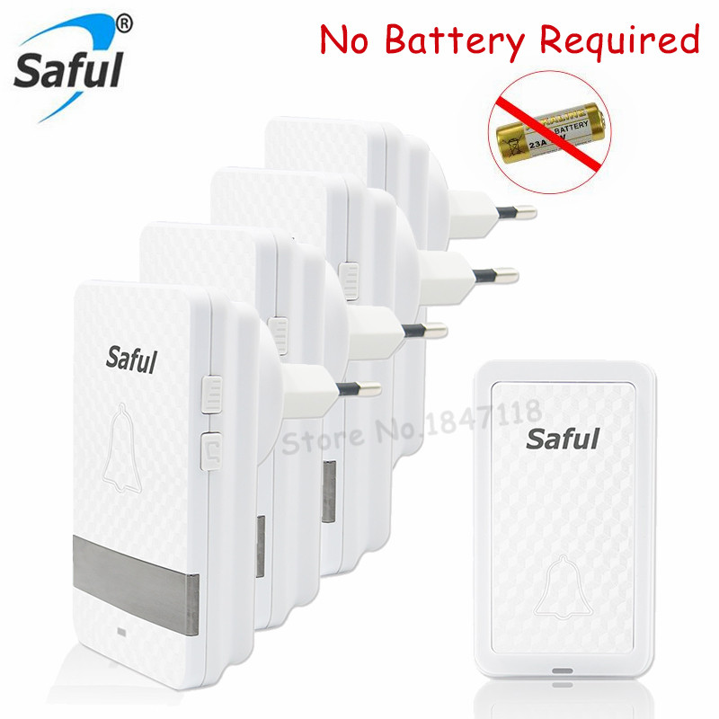 Saful Wireless Doorbell EU US plug Self powered Waterproof AC110V 220V Remote Led Light for Home