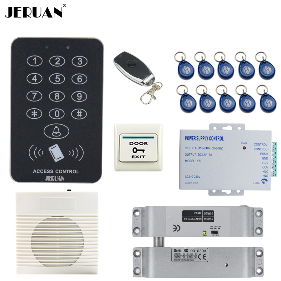 JERUAN Cool black RFID Password Access Controller system kit+Speaker doorbell+Remote control+Exit Button+In stock Free shipping new arrival rf adapter mcx male straight to n female bulkhead o ring straight for rg316 pigtail coaxial cable 20cm