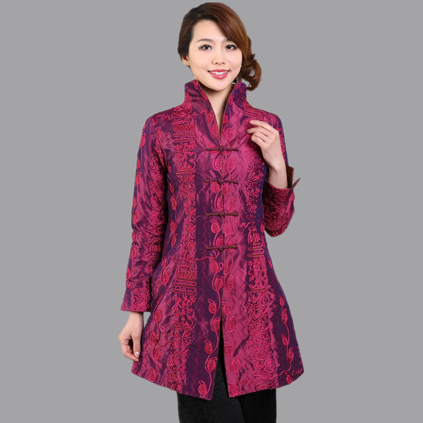 Burgundy Traditional Chinese Ladies Jacket Women Satin Embroidery Long Coat Spring Autumn Flower Outwear Plus Size 3XL 4XL 5XL