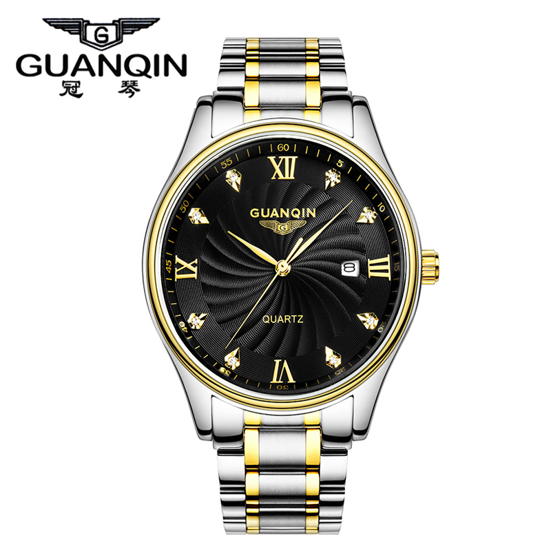 ФОТО Luxury Quartz Watches Men Original Brand GUANQIN Men's Gold Watch Full Steel Male Casual Clock Wristwatch With Rhinestone gift