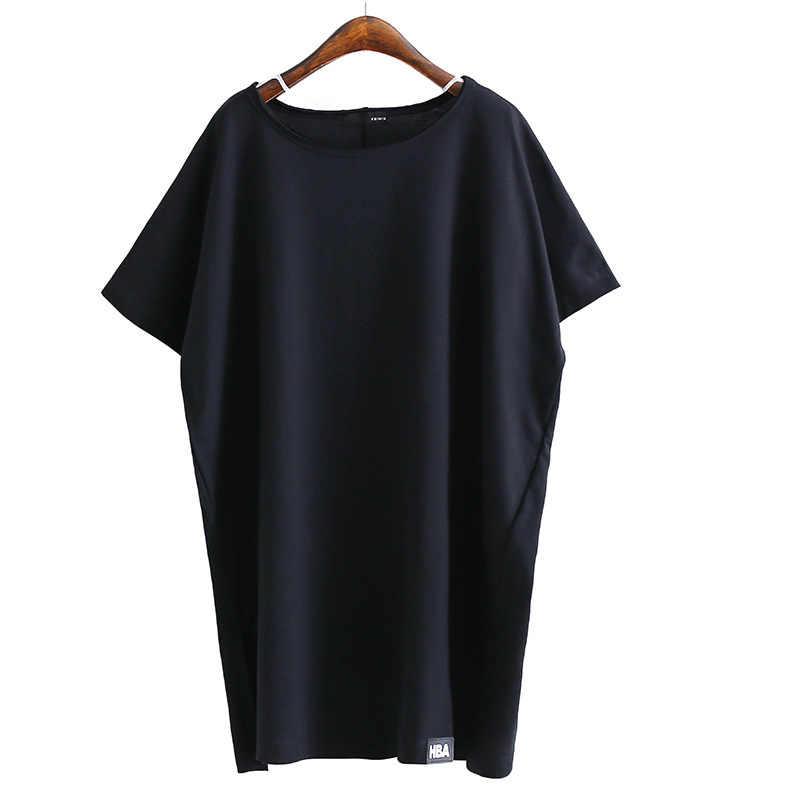 U-SWEAR 2019 Nieuwe Collectie Fashion Casual T-Shirt Vrouwen Lange Lijn Korte Mouw Side Slit Losse Zachte Vrouwelijke Tops Solid Kleding