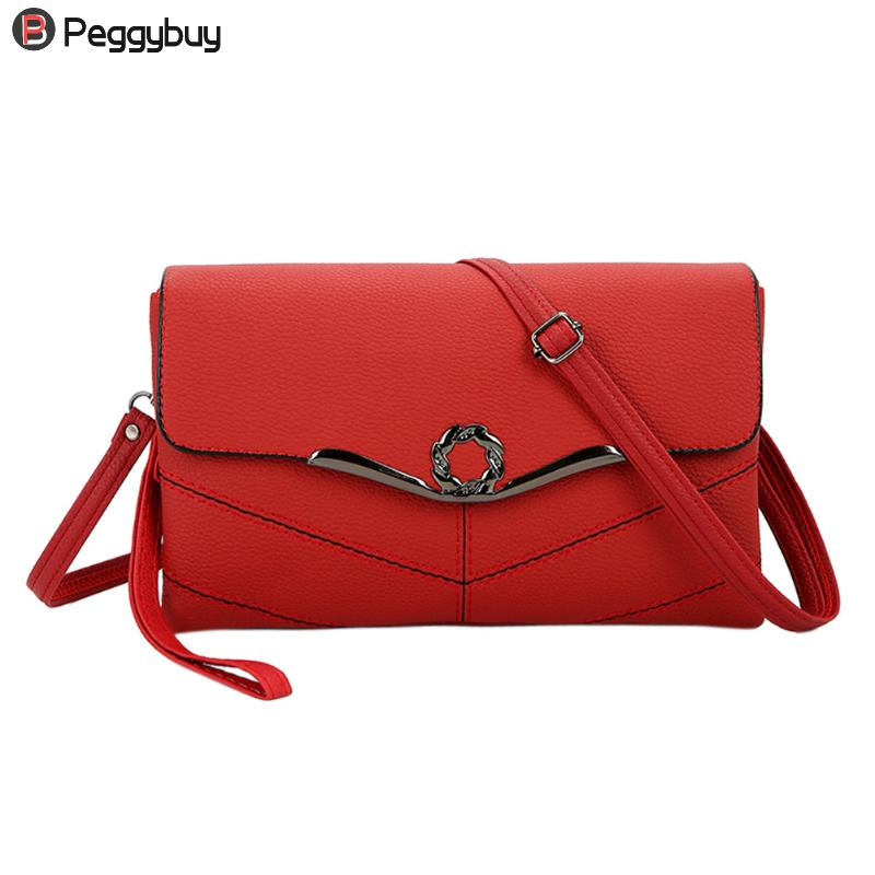 Elegant Soft PU Leather Small Shoulder Handbags Women Clutch Crossbody Satchel Girl Envelope Purse Bag Simpl Sling Messenger Bag new fashion women girl student fresh patent leather messenger satchel crossbody shoulder bag handbag floral cover soft specail