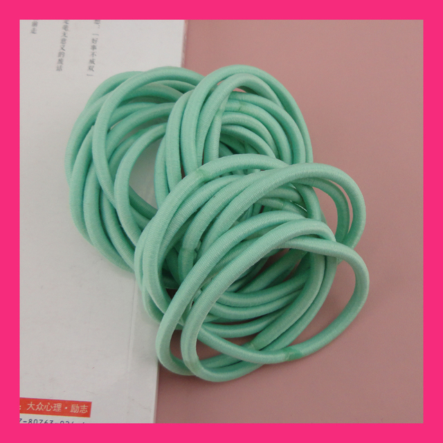50PCS 4mm Mint Green Elastic Ponytail Holders hair bands with gluing  connection 5b98523e034