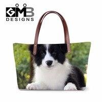 Dispalang girly borsa della spalla del cane border collie modello borse laterali per le donne sopra la spalla borse tote bag a mano con pannelli