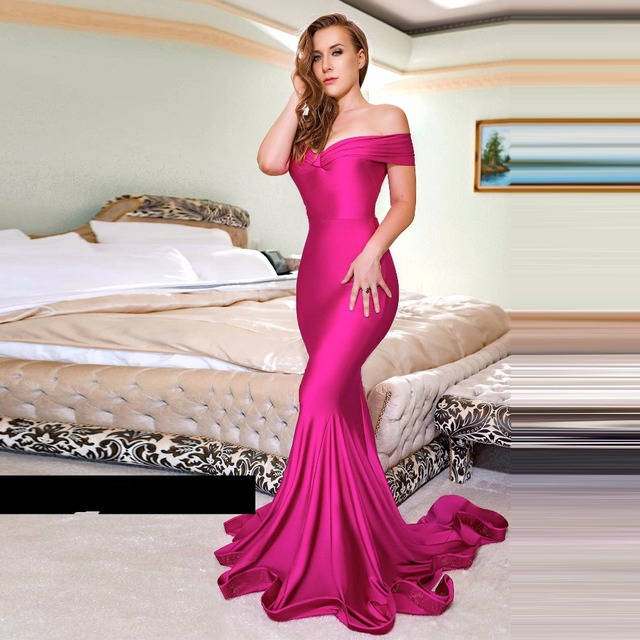 1088bce5c856 Fuchsia Long Evening Gowns Appliques Gorgeous Robe De Soiree Mermaid Evening  Gown V Neck vestido longo Elegant Formal Dress
