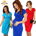Maternidade vestir roupas para grávidas gravidez algodão de manga curta Com Decote Em V-vestido de maternidade vestidos de verão cintura Alta elástico