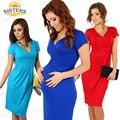 Ropa de maternidad vestido de embarazada V-cuello de algodón de manga corta vestido de verano de la Alta cintura elástico de maternidad embarazo vestidos