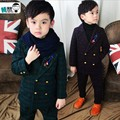 new 2016 autumn winter boys gentlemen thick woollen cloth blazer clothing sets 2pcs boys clothes set boys dress suit