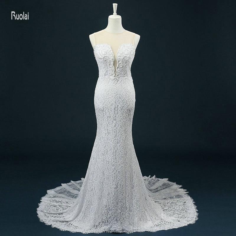 2016 új érkezés bájos mermaid O nyak gyöngyös gyöngyök csipke egyedi készítésű hosszú esküvői ruhák valódi minta