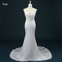 2016 New Arrival Charming Mermaid O Neck Beading Pearls Lace Custom Made Formal Long Wedding Dresses Real Sample