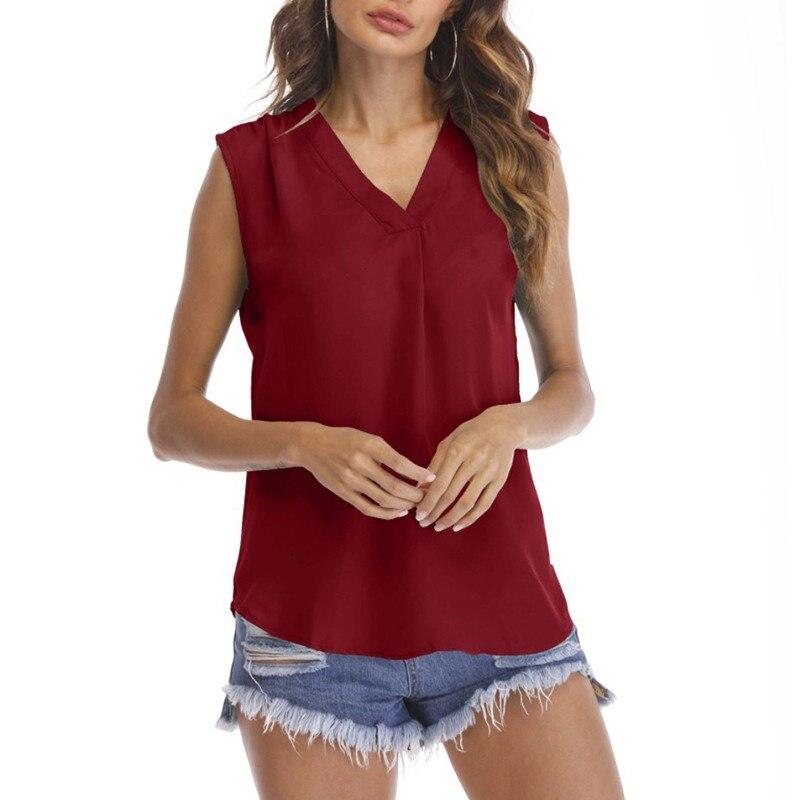 f7544e79ba5 2019 для женщин блузки без рукавов повседневное свободные Soild v-образные  вырезы женский шифоновый жилет