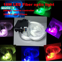 16W RGBW 0.75mm*300PCS X 2M LED Fiber optic light Star Ceiling Kit optical lighting+RF 24key Remote engine+ 5 Crystal