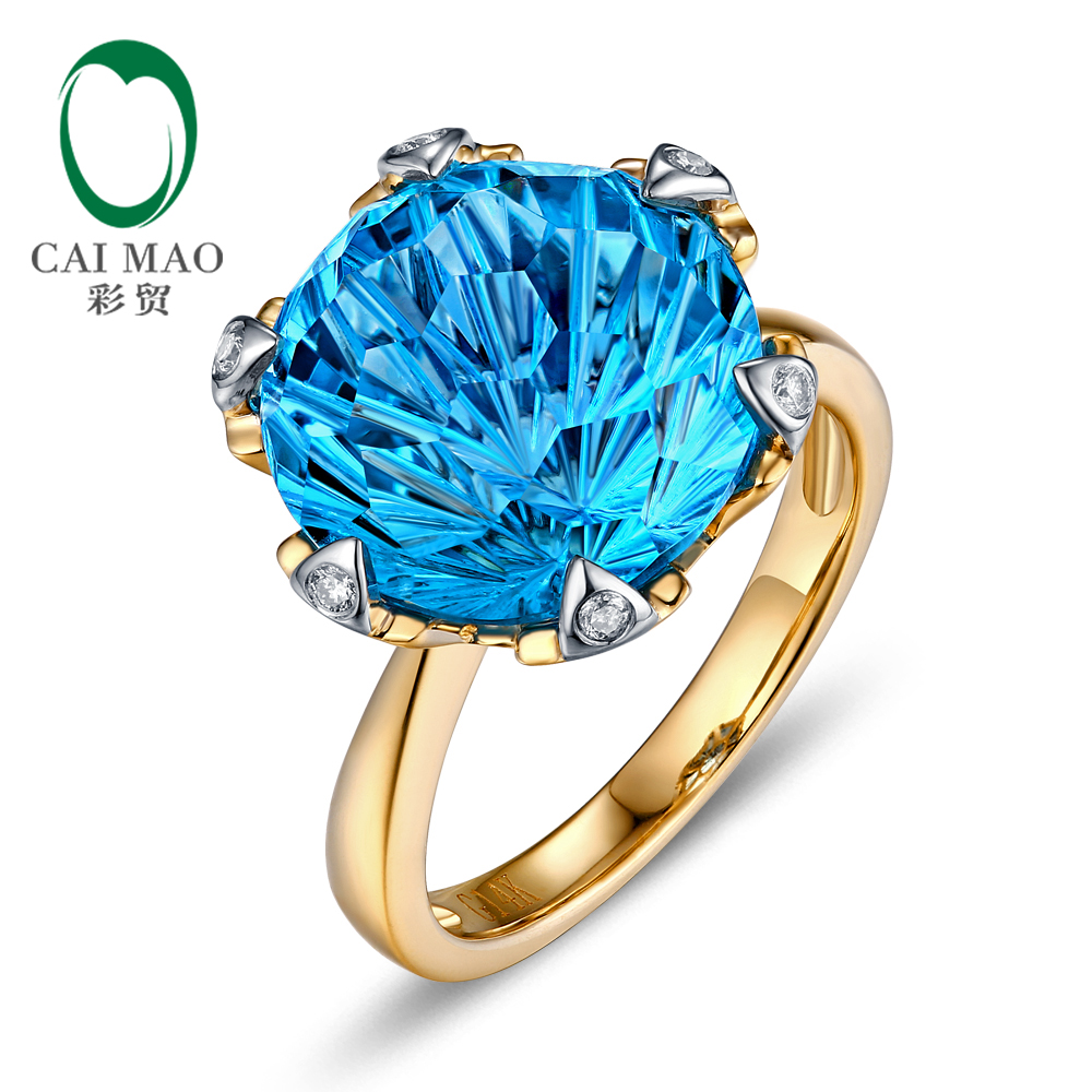 Caimao 14kt Yellow White Gold 9.68ct Large 12mm Round Cut Blue Topaz H SI Diamond Engagement Ring