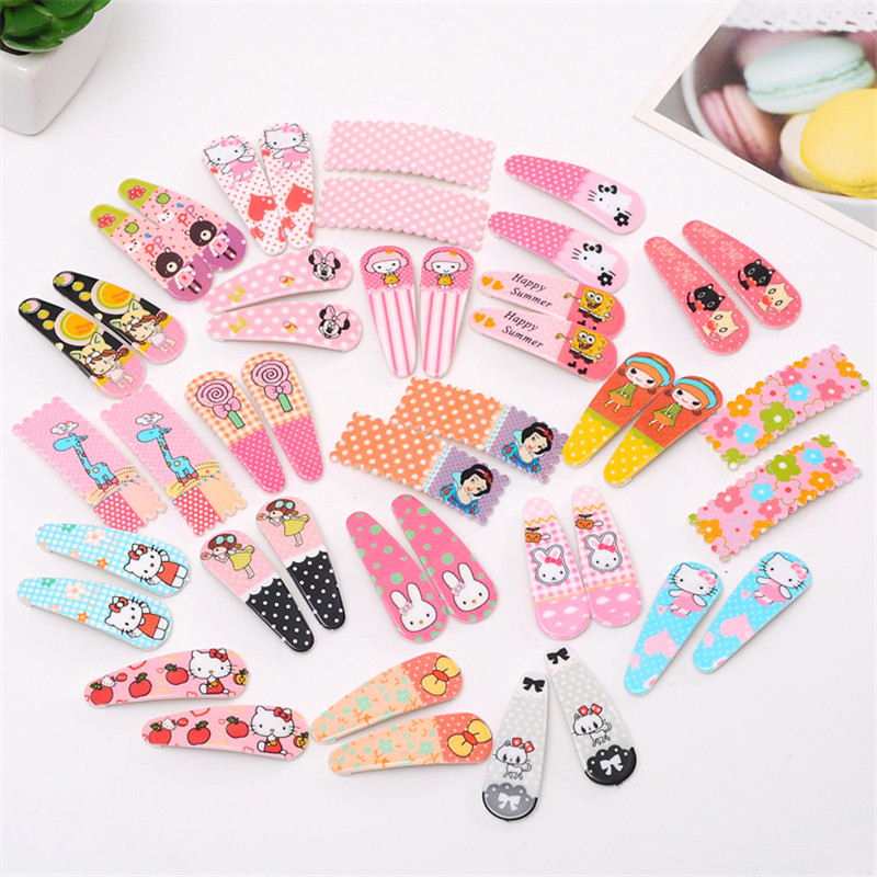 10 Pcs/lot Cute Hair Clip Kawaii Hairpin Flower Kids Barrettes Girl Cartoon Fashion Hair Accessories Animal Pattern Hairpins fashion barrette baby hair clip 10pcs cute flower solid cartoon handmade resin flower children hairpin girl hairgrip accessories