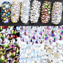 Opal White Crystal Glass Nail Art Rhinestones 1 Pack  Mixed Sizes Colorful Non Hotfix Flatback Strass 3D Manicure Decorations mix sizes opal colors crystal glass non hotfix flatback rhinestones strass nail art nails accessoires nail art decoration