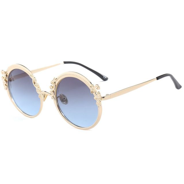 ce667e3b0 Luxury Carved Sunglass Fashion Brand Designer Gradient Blue Pink Sun  glasses Women Vintage Round lens Sunglasses