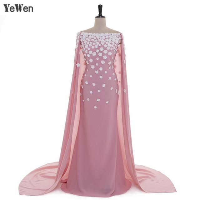 0e04d8f1645 Fleurs élégantes robes de soirée rose profond Long avec capuchon épaule  dénudée YeWen robe de soirée