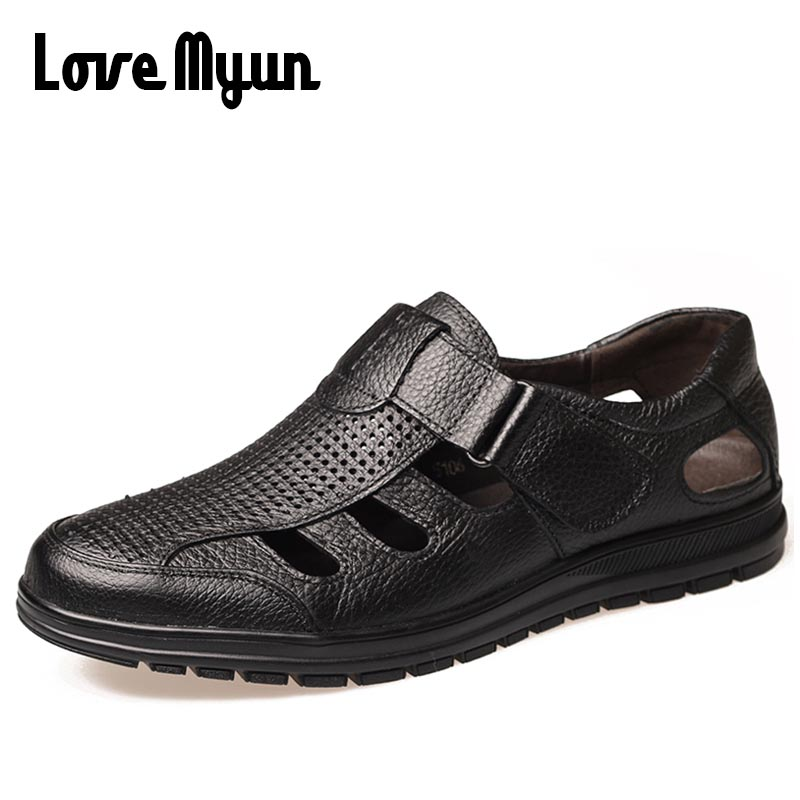 Genuine Leather Mens Summer Sandals Men Soft Leather Casual Shoes Fashion Flat Beach Shoes Man Outdoor Slippers Breathable FF-34