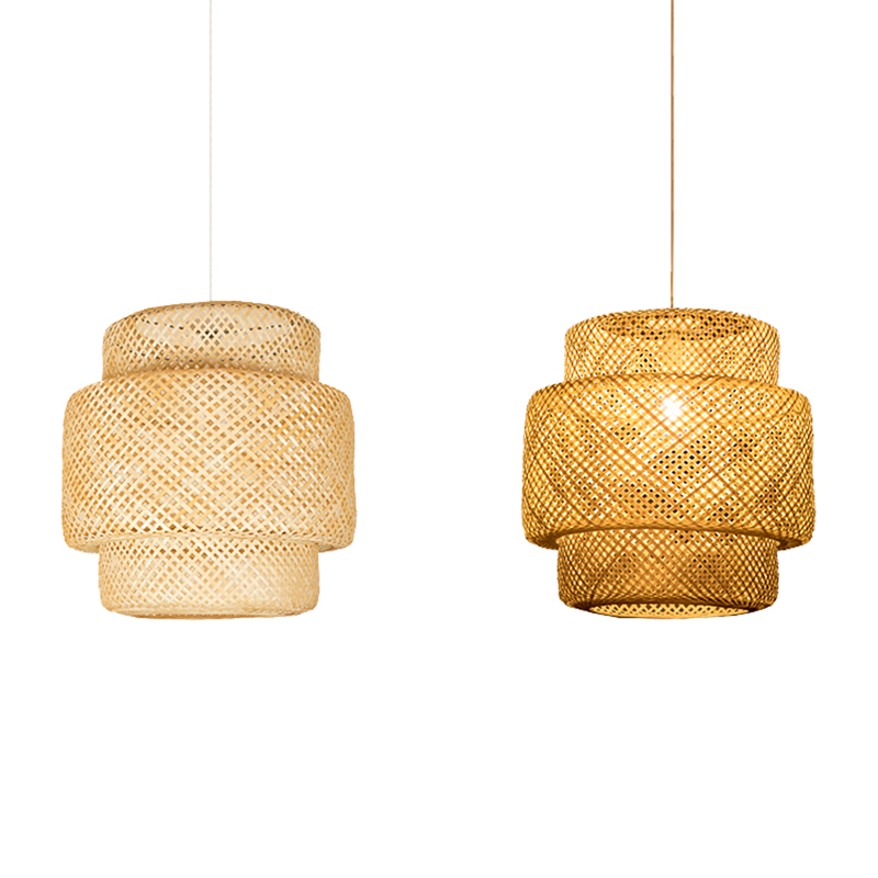 Chinese Bamboo Weaving Bamboo/Rattan Weaving Pendant Light E27 Lamps Lanterns Living Room Hotel Restaurant Aisle Pendant Lamp