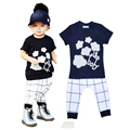 High Quality Summer Kids Girl Clothes Set Cartoon Flower Stripe T Shirt+Plaid Pants 2pcs Set Brand Baby Boy Casual Clothes Set