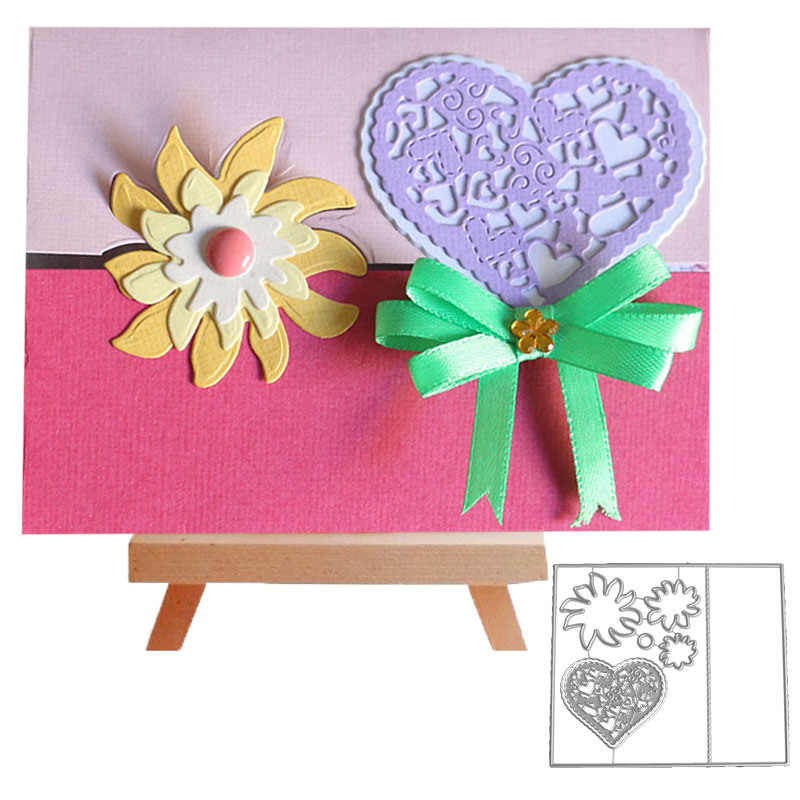 Bifujian collage love flower Matel Cutting Die Crafts Embossing Scrapbooking Die Carbon Cut Paper Card Stencil For Albums Decor