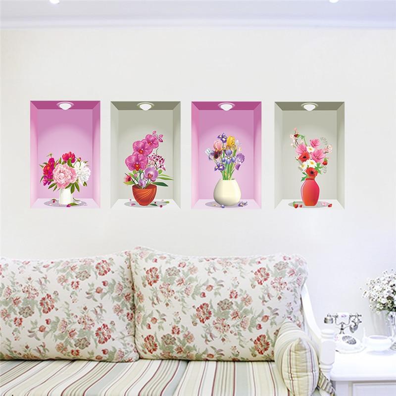ᗛ3d wall hole window view art 4 flower flora pot light sticker ...