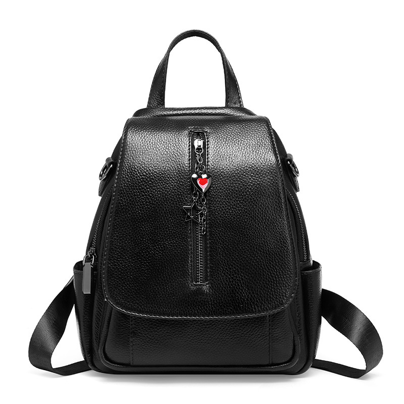 1086 New Fashion Top Layer Cowhide Leather Bags Women's Shoulder Kraft Leather Pendant Ladies Backpack