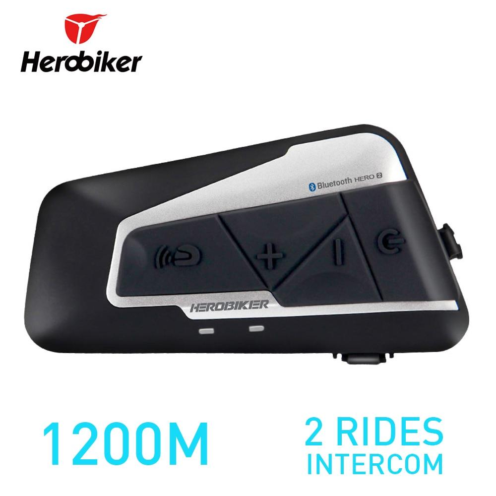 1200M BT Motorcycle Helmet Intercom Waterproof Wireless Bluetooth Motorbike Headset Interphone with FM Radio for 2 Rides