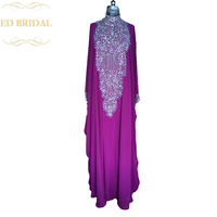 Free Shipping High Neck Long Sleeve Dubai Kaftan Muslim Evening Party Dress Heavily Beaded Luxurious Arabic