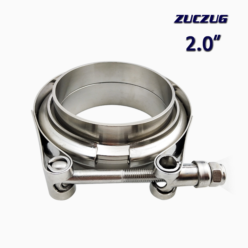 ZUCZUG 2.0 inch Auto Parts V-band clamp kit for Turbo, Exhaust pipes Turbo Downpipe Exhaust Clamp V band  flanges kitZUCZUG 2.0 inch Auto Parts V-band clamp kit for Turbo, Exhaust pipes Turbo Downpipe Exhaust Clamp V band  flanges kit