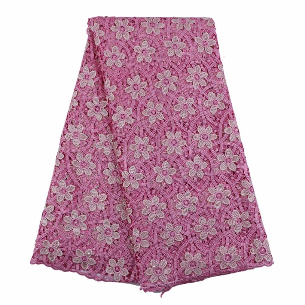 Rosa tela de encaje guipur africano 2017 con pequeñas flores 5 ...