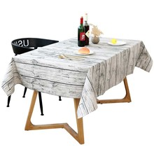 Retro Wood Grain Decorative Tablecloth Cotton and Linen Tablecloth Kitchen Home Decoration Knitted Striped Burlap Sheets Towel