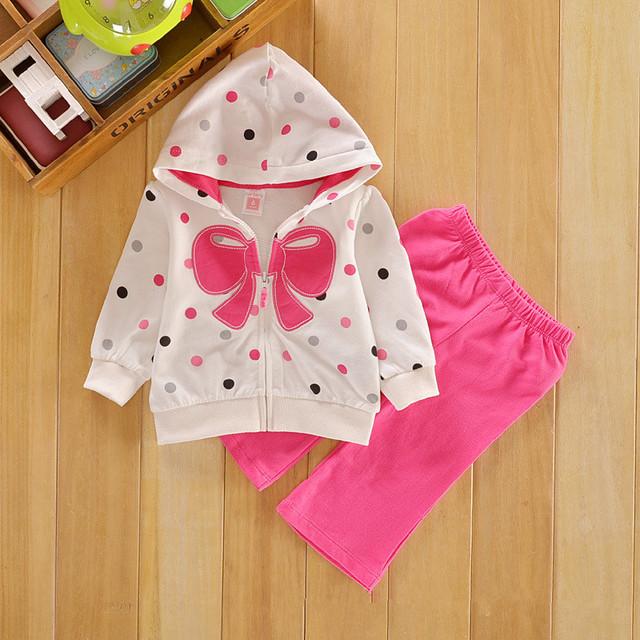 2014 Nueva baby girl set bebe niños bownot polka 2 unids conjunto chaquetas + pantalones niños traje de moda ropa de los niños sets 187A