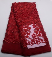 African Lace Fabrics High Quality Good Price Red Beaded Flower Pattern Embroidery French 3 D Tulle