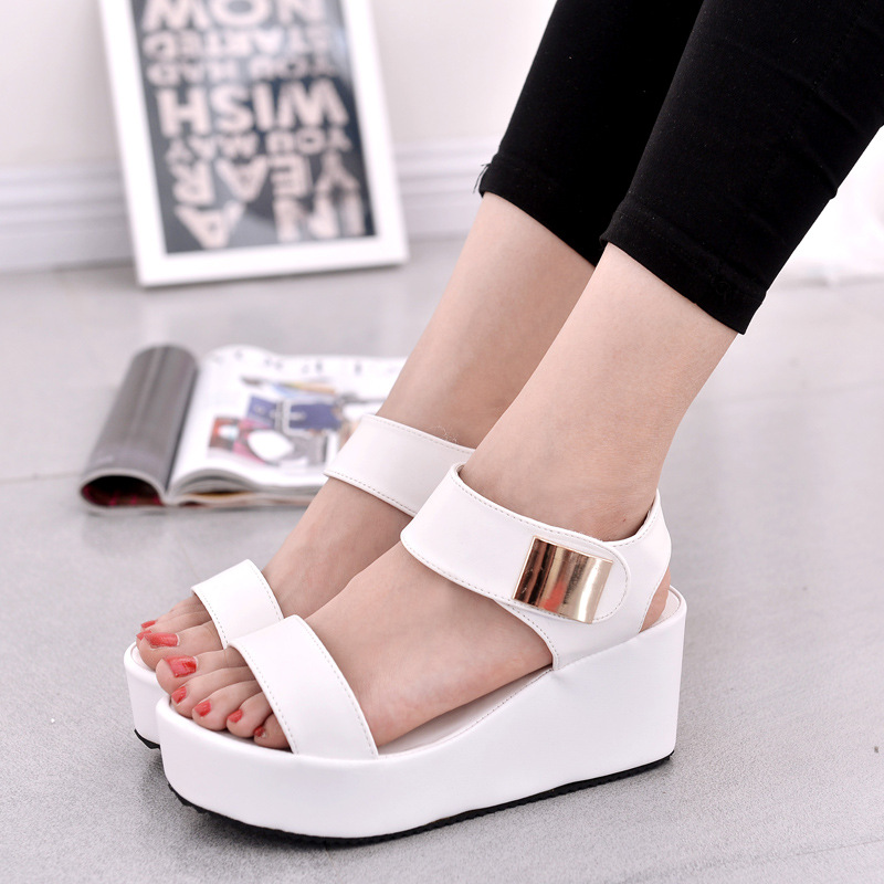 3a38436a119 Sandals women 2018 summer new Korean fashion women sandals sponge cake  thick heels with fish mouth Roman tide shoes women black-in Middle Heels  from Shoes ...