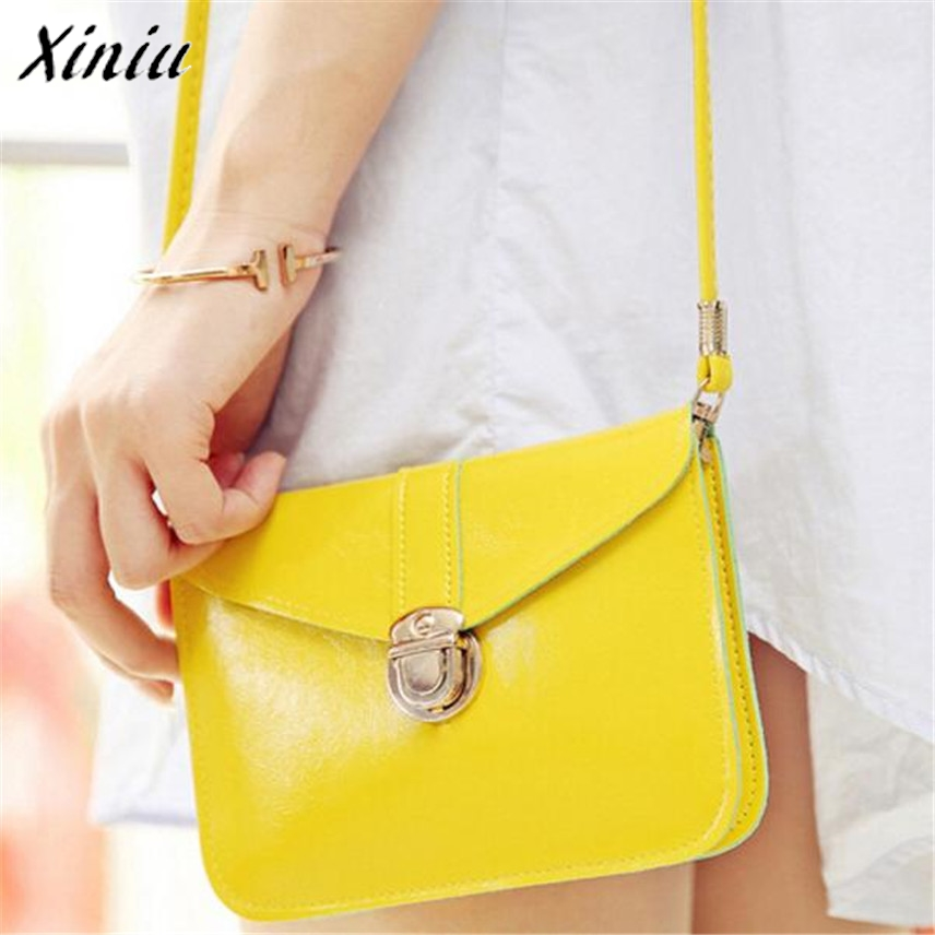 Bolsas 2017 Purse Women bag Leather Crossbody Handbag Single Shoulder bags Women Messenger bags Phone Bag Yellow Bolsas de ombro