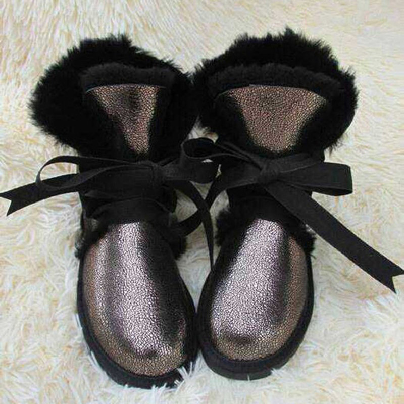 ФОТО Wholesale/retail High quality Women's Classic Snow Boots real Sheepskin medium style winter boots womens warm boots
