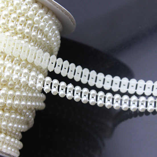 5 ярдов/лот 9 мм ABS плоская задняя белая струна жемчужные рулоны цепь ремень рулон DIY Ювелирная одежда материал F1577
