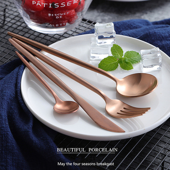 KTL 24Pcs Rose Gold Cutlery Champagne Pink Tableware Set 18/10 Stainless Steel Dinner Fork Knife Scoop Set Silverware Set