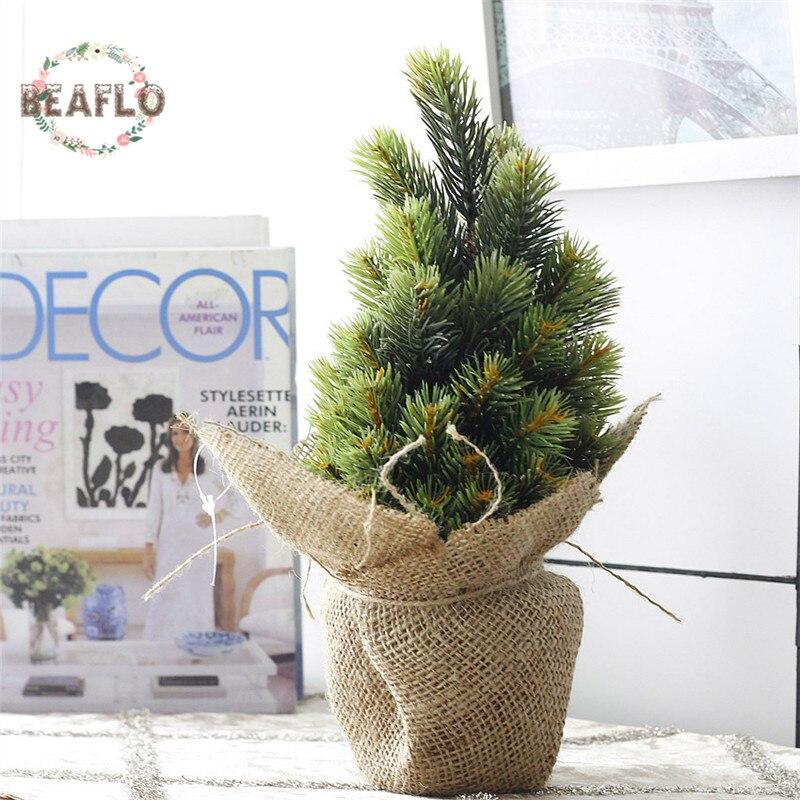 1Set Mini zelené umělé rostliny Vánoční strom Potted Hedvábí Umění Květiny Bonsai pro svatbu Domácí Party dekorace
