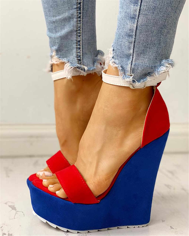 INS คุณภาพสูงสีแดงสีฟ้าผู้หญิง Wedges รองเท้า 2019 รองเท้าแตะฤดูร้อนผู้หญิงเซ็กซี่แพลตฟอร์ม 15 ซม.ส้นสูงรองเท้าผู้หญิง