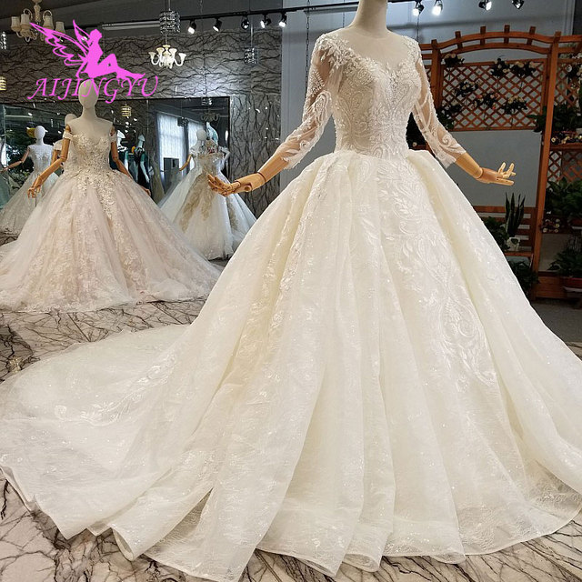 AIJINGYU แม่เจ้าสาว Weddimg ชุด Drees อิตาลีสีขาว Lace Plus ขนาดแขนยาว Imperial ชุดแต่งงาน ชุด