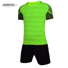 BHWYFC Mens Soccer Jerseys 2017 Summer Short Sleeve Striped Training Set Uniform Plain Football Suits Customize Logo Name Adult