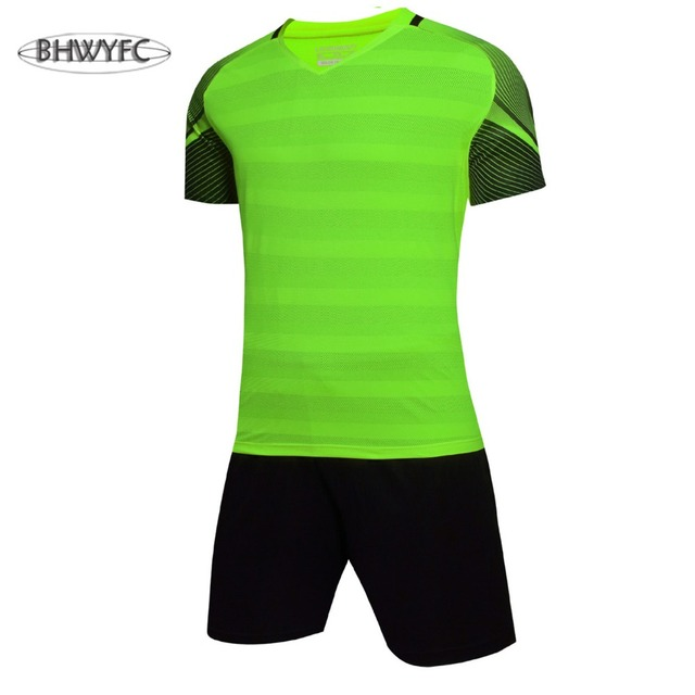 BHWYFC Men s Soccer Jerseys 2017 Summer Short Sleeve Striped Training Set  Uniform Plain Football Suits Customize Logo Name Adult e9325952d