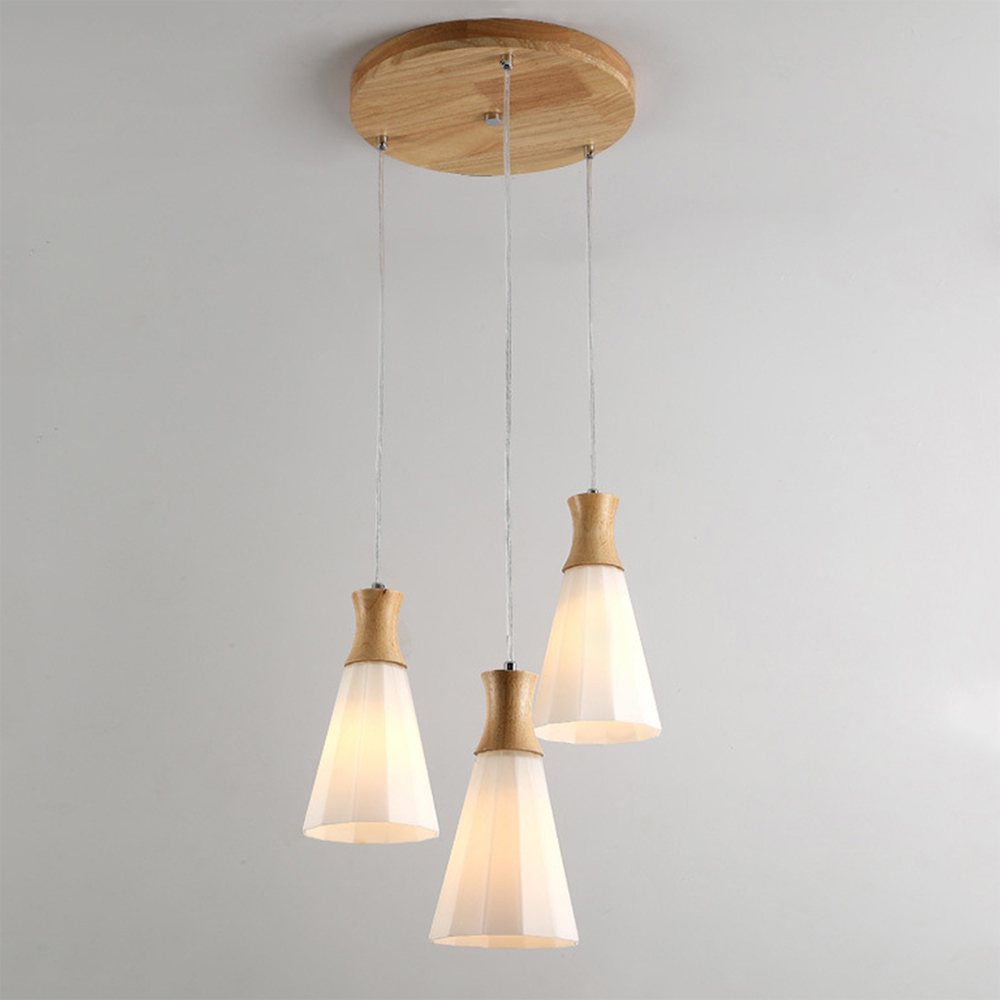 European /Japanese Glass Led Chandelier Lighting Modern Wood Hanging Light Fixtures E27 for Living Room Kitchen Dining Room Hall
