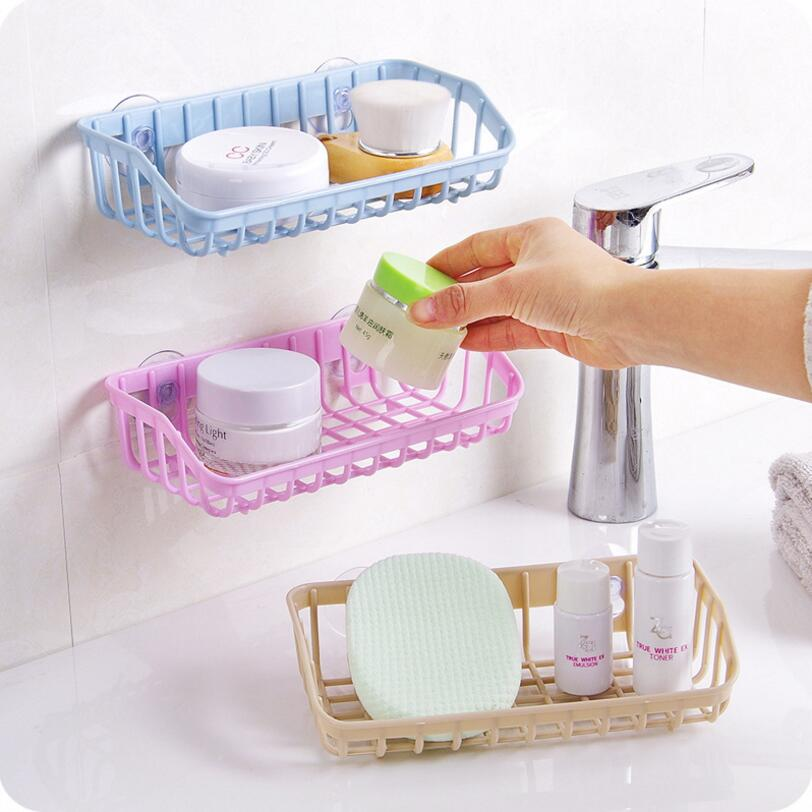 Home Storage Wall Suction Cup Plastic Storage Rack Cosmetic Toiletries Sundries Storage Holder Bathroom Organizer