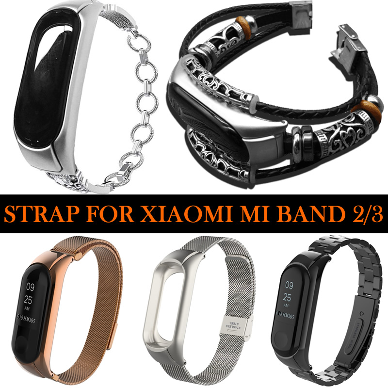<font><b>Miband</b></font> 3 Metal Leather Wristband For <font><b>Xiaomi</b></font> Mi Band 3 Watch Strap For <font><b>Xiaomi</b></font> Mi Band <font><b>2</b></font> Bracelet <font><b>Correa</b></font> <font><b>Xiaomi</b></font> <font><b>MiBand</b></font> 3 <font><b>2</b></font> Bands image